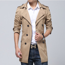 Autumn Winter Men Outerwear Casual Coat Men's Jackets Long Double-breasted Trench  Windbreaker Belt 2015  Trench Coat Men(China (Mainland))