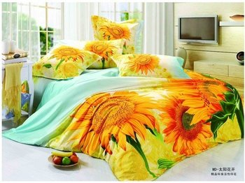 Hot Fashion New  Beautiful 100% Cotton 4pc Doona Duvet QUILT Cover Set bedding set Queen/  King size fashion sunflower