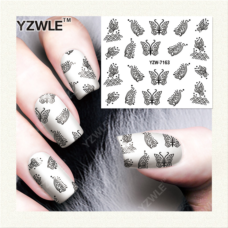 YZWLE 1 Sheet DIY Decals Nails Art Water Transfer Printing Stickers Accessories For Manicure Salon (YZW-7163)(China (Mainland))