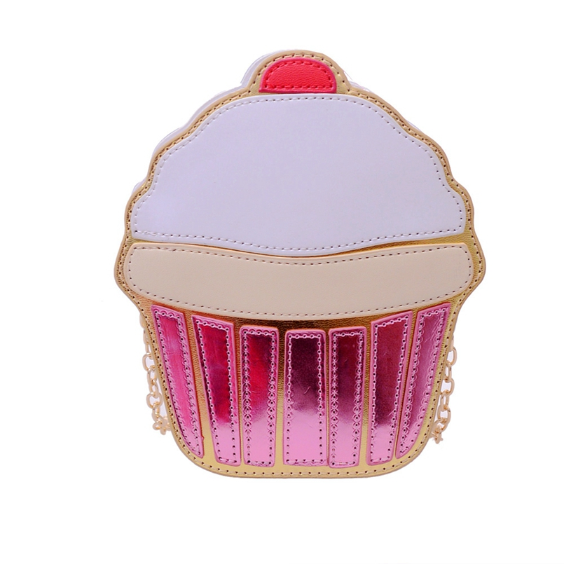 Excellent Quality Women Cute Ice Cream Cupcake Mini Bags Leather Chain Clutch Crossbody Girl Shoulder Messenger Bag New Design(China (Mainland))
