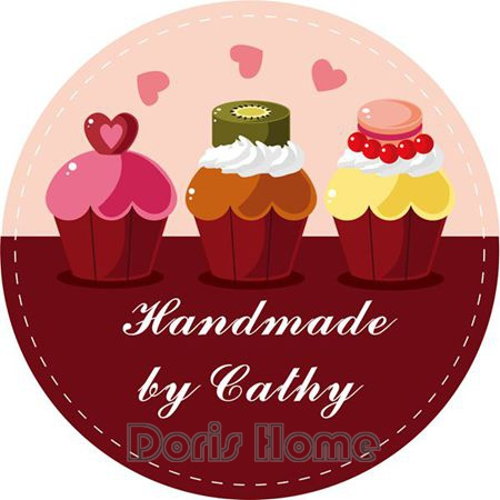 Free Shipping New Customize Adhesive Cupcakes Sticker / Label for Wedding / Baby Shower 3cm, D13(China (Mainland))