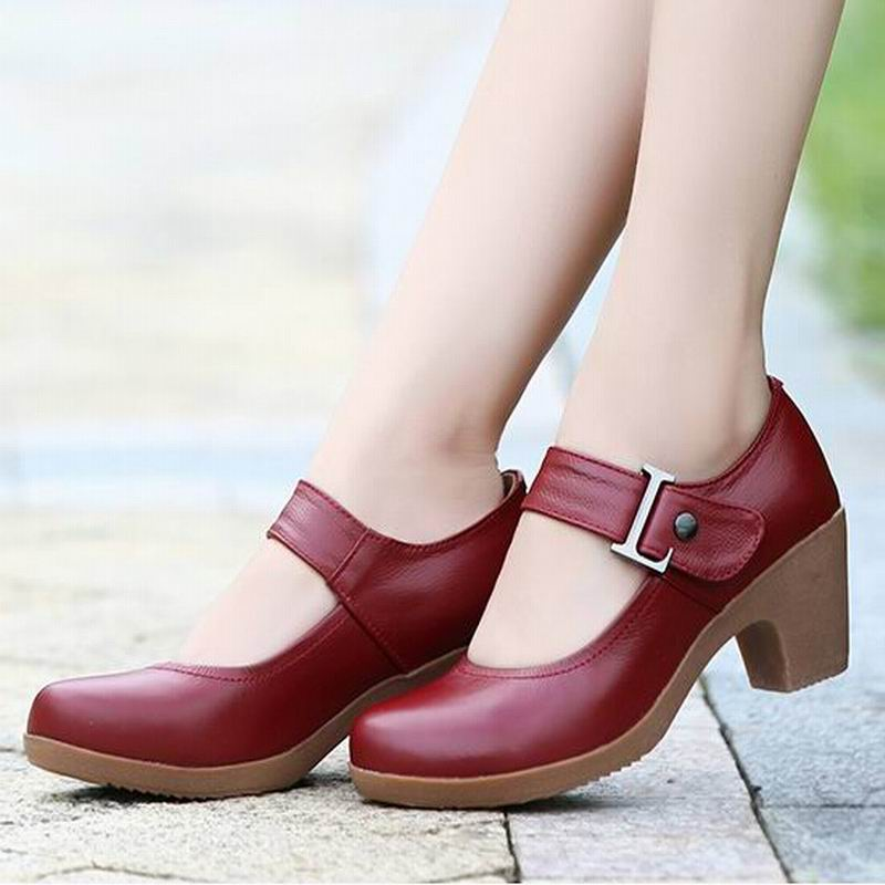 2015 Spring Autumn Shoes Woman 100% Genuine Leather Women Pumps Lady Leather Round Toe Platform Shallow Mouth Shoes Size 32-42