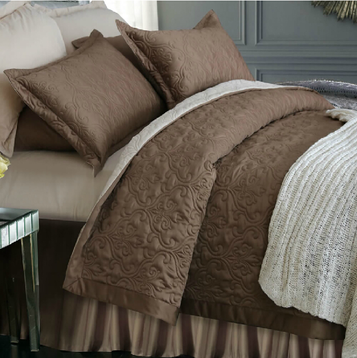Free Shipping! Adream Tribute Silk/Cotton Bedding Set Quilted Bedspread Queen Comforter Brown Duvet Set(China (Mainland))