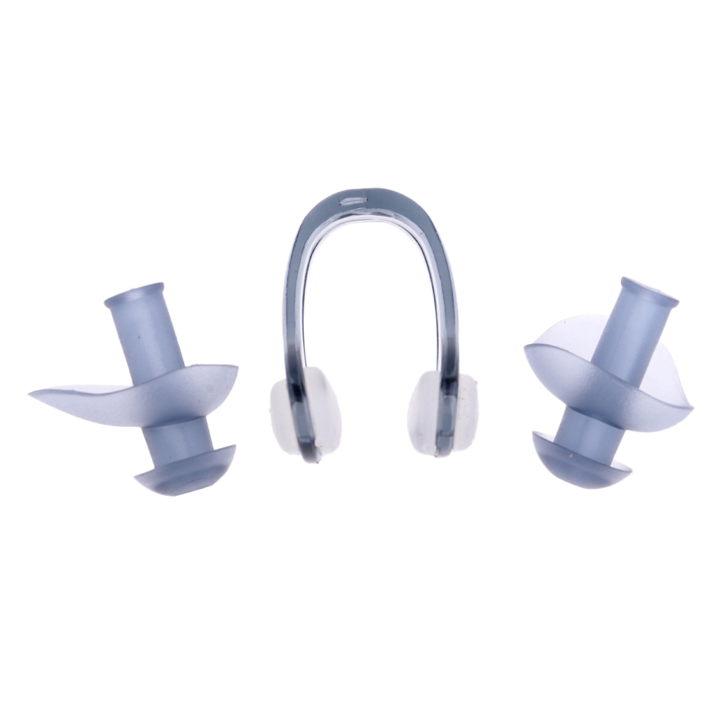 Swimming Ear Plugs & Nose Clip Universal Ear Plugs and Nose Clip Combo Set for Swimming Diving Surfing Water Sports with Case