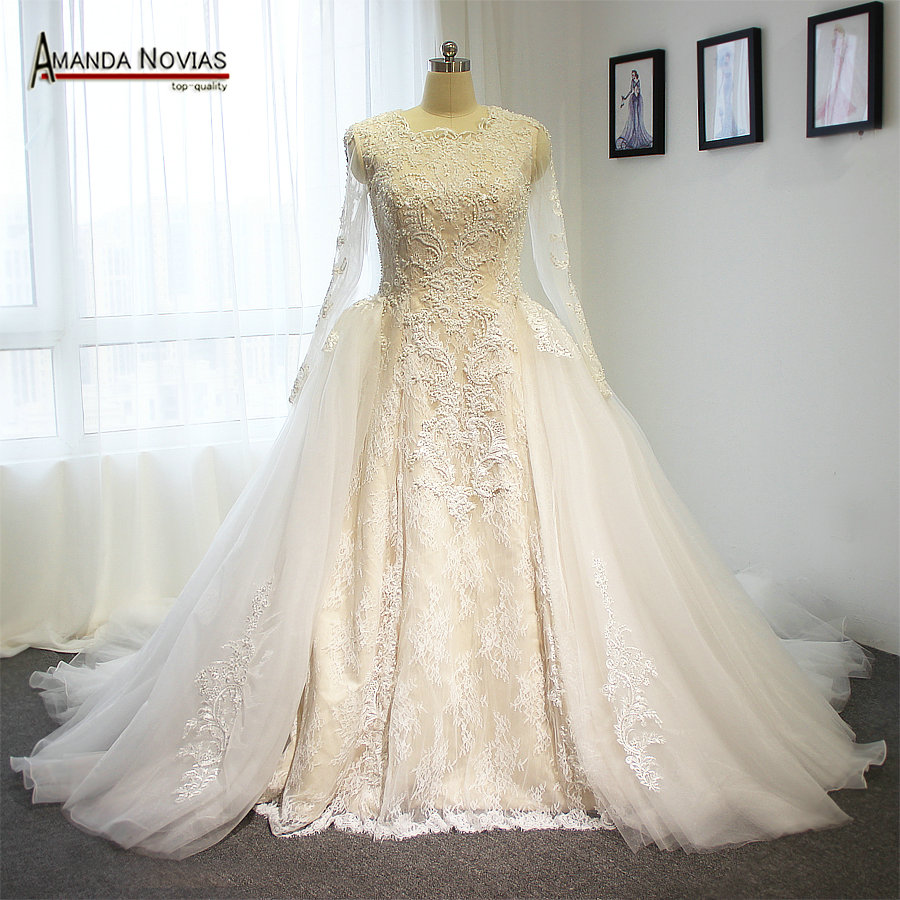 Ivory high end wedding dress two in one wedding dress with for High end designer wedding dresses