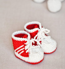 free shipping, Crochet Baby Shoes ,Crochet Baby Booties ,Crochet Baby Tennis Shoes - Baby Sneakers  0-12month 9cm,11cm(China (Mainland))