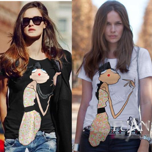 spring summer fashion t-shirt women applique elastic stretch European style short sleeve black white cartoon woman t shirt - Sunflower Fashion store
