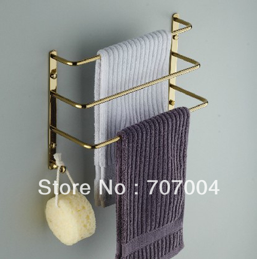 Bathroom Wall Mounted Golden Brass Towel Rack Three Towel Bar Hanging Holder Rod In Storage