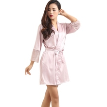 Mid-sleeve Sexy Women Deep-V Nightwear Robes Plus Size Lace Silk Female Bathrobes Sleepwear(China (Mainland))
