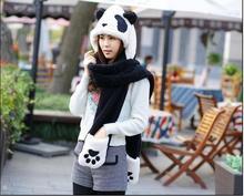 New Autumn Winter Cute Panda Women's Hats Plush One Hooded Scarves Gloves Cartoon Design Beanie Cap(China (Mainland))