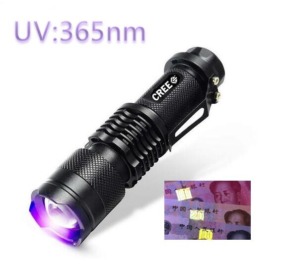 MINI LED UV Violet Flashlight 365nm Zoomable Black Aluminum Purple Violet Light SK68 Led Flashlight Torch by 14500 Battery<br><br>Aliexpress