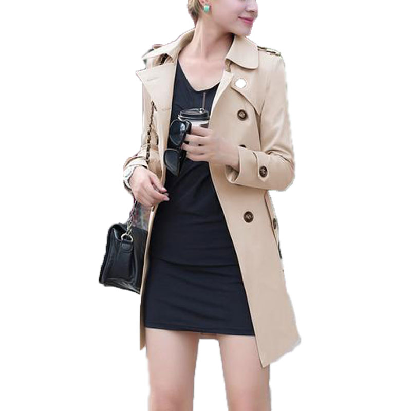 New Autumn Winter 2015 Women Fashion Double Breasted Belted Side-Pocket Long Trench Lapel Coat Outerwear Jacket Plus Size