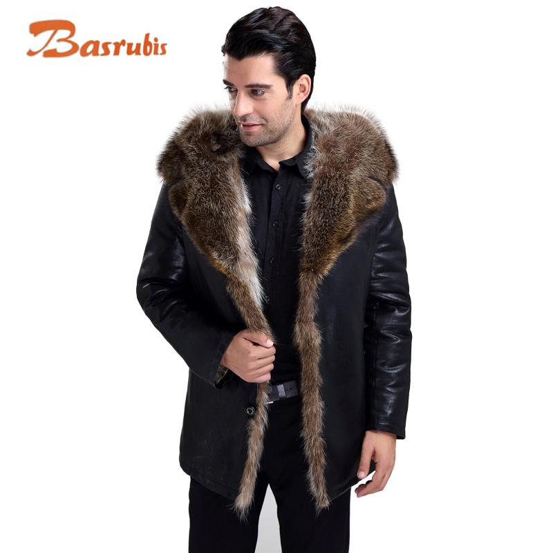 Fur Lined Leather Jacket Mens Winter Men's Fur Coat Genuine Hooded Leather Jacket Men sheepskin Wholesale Plus Size(China (Mainland))