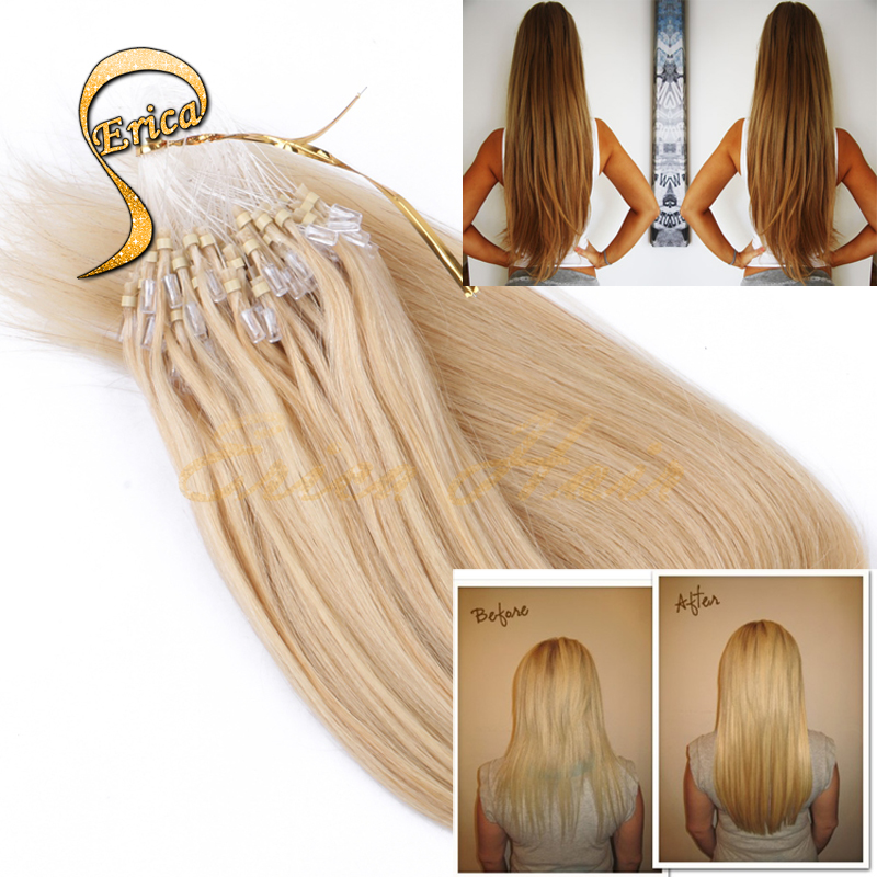 14Inch-26Inch Micro Loop Hair Extensions 100strands/pack 50g Nature Colorful Free Shipping Full Head loop Human Hair Straight(China (Mainland))