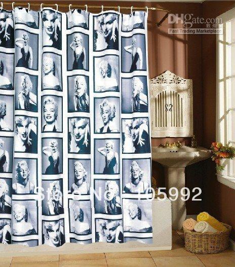 Free shipping- Marilyn Monroe flowers Shower curtain 180X180cm(China (Mainland))