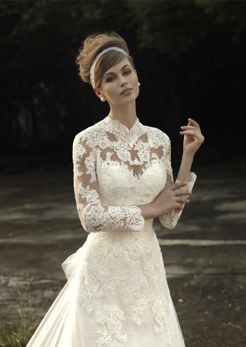 E Wedding Dresses : E new applique lace high neck a line long sleeve wedding