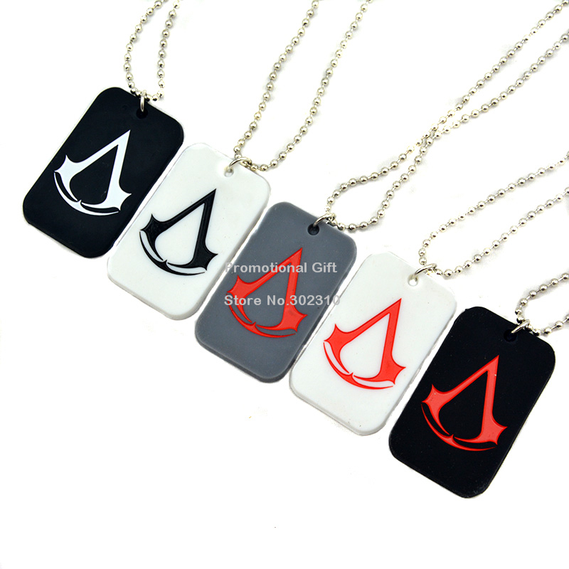 "Assassins creed ожерелье, силиконовые собака тег с 24"" ballchain, 50pcs/lot"
