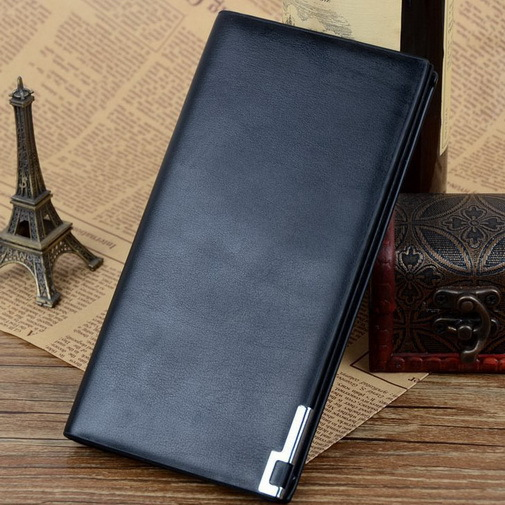 2015 Hot Selling Black Long Wallets Men Bag Leather Wallet Purse Luxury Brands Design Leather Pu