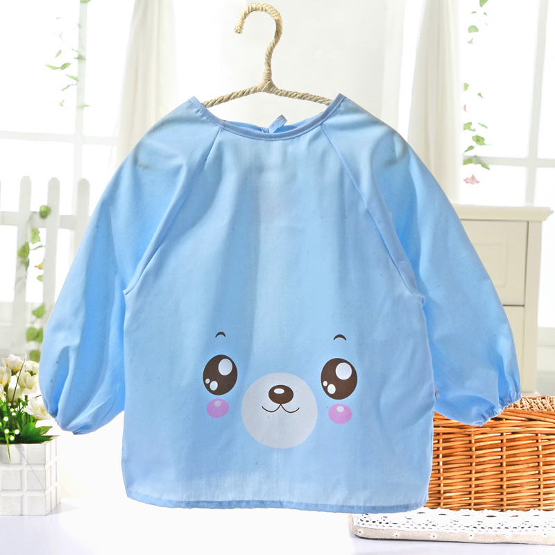 0-4 Years Baby Waterproof Cartoon Overclothes Children Food Clothing Infant Newborn Long Sleeve Bibs Burp Cotton Reverse Clothes(China (Mainland))