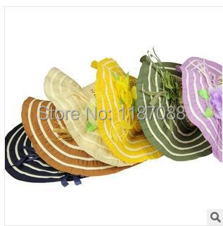 New Summer Big Flower Wide-brimmed Large Along The Straw Hat Shading Sun Hat Straight For Beach Hat Hat Manufacturer(China (Mainland))