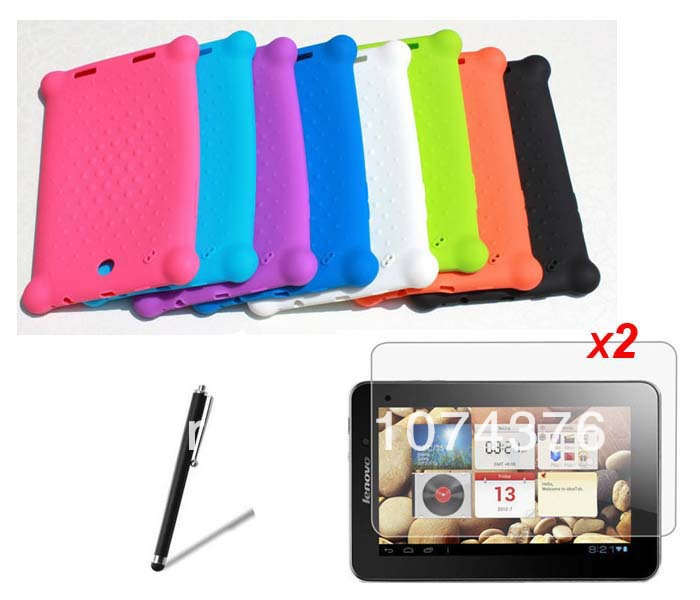 """Silicone Gel Skin Case + 2*Matte Films +Stylus For Lenovo IdeaTab A2107 A2107A A2207 7""""Tablet PC Rubber Back Cover Free Shipping(China (Mainland))"""