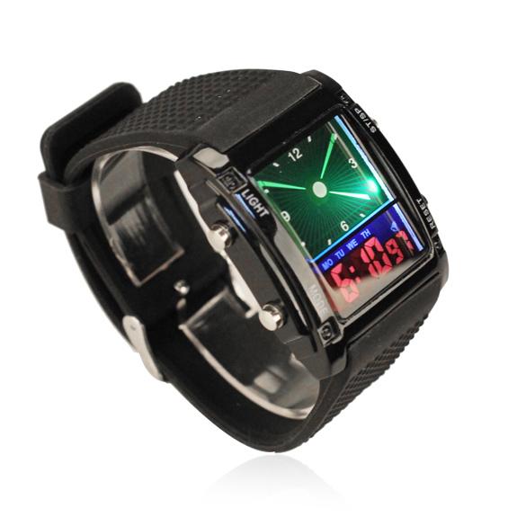 Trendy Digital LED Quartz Wrist Watch with Rubber Strap Wristwatch for Women Men Black BS88(China (Mainland))