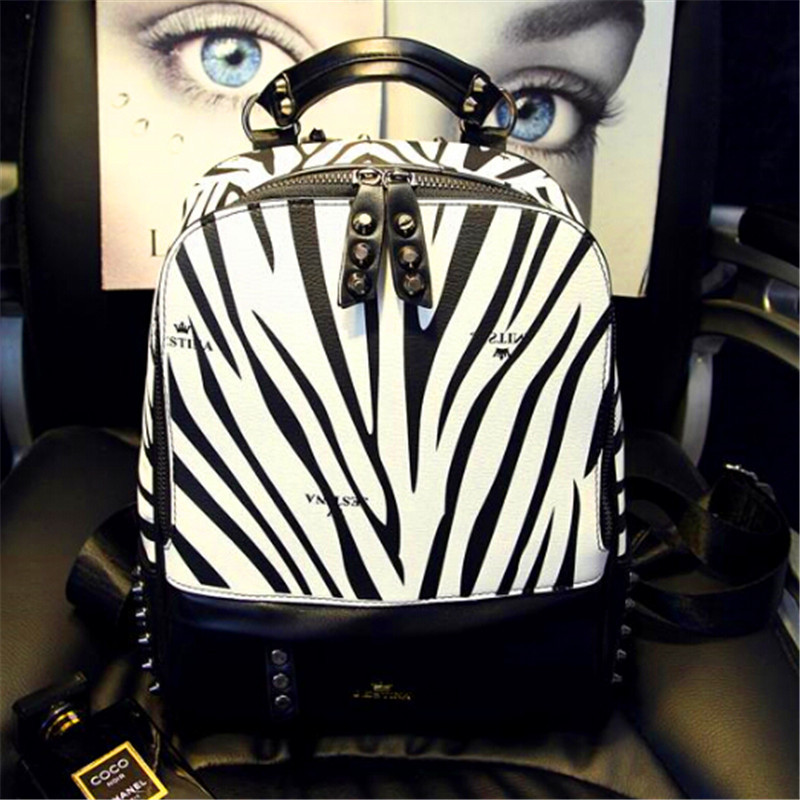 2015 new spring ladies handbags Limited Shipping fashion zebra rivet backpack couple brand package<br><br>Aliexpress