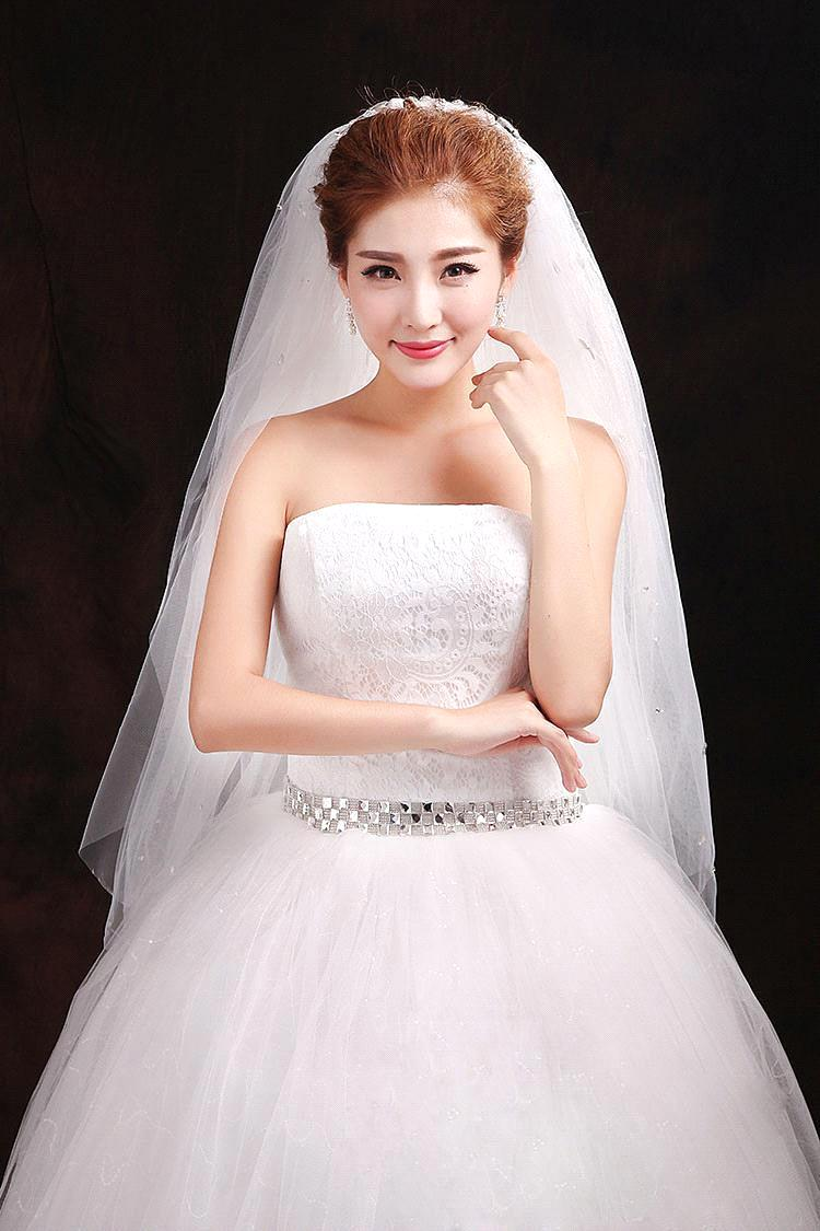 Aliexpress Buy Luxury Crystal Rhinestones Wedding Veils With Comb White Ivory Tulle Bridal