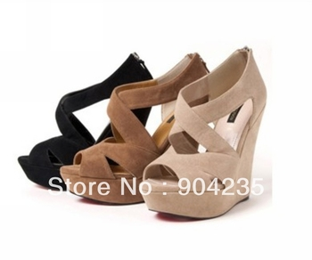 Women's Wedge High Heels Platform Back Zip Sandals Shoe  EU 35 to EU 39 3 Colour Choice with a tracking number