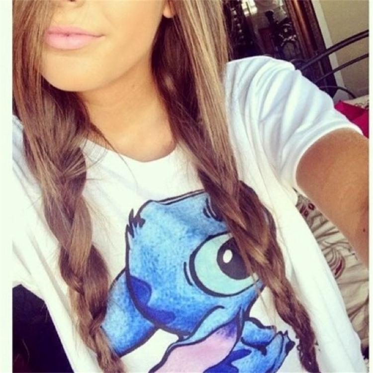 2015 Summer Short Sleeve Women T Shirt Lilo Stitch cartoon print T Shirt Women Shirts Clothes