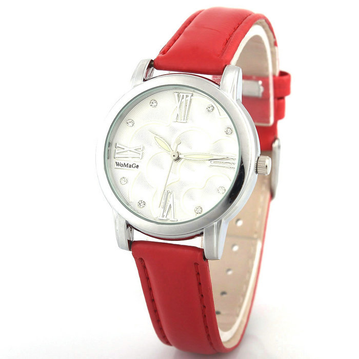 Leather Strap Luxury Fashion Casual Watches Silver Case Flower Printing Dial Quartz Watch Women Wristwatches Clock Female 2015(China (Mainland))