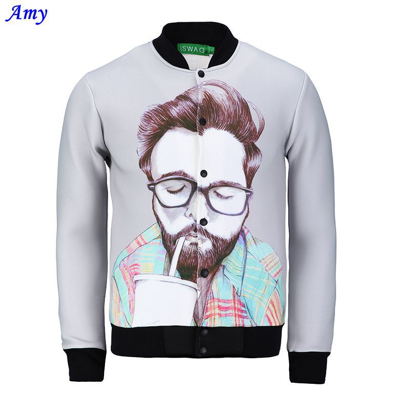[Amy] A man in drinking beverages whole clothing print jacket men Outerwear 3d jackets autumn JK08 free shipping(China (Mainland))