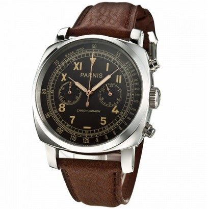 45 mm new fashion PARNIS Japanese quartz movement silver case coffee dial men's watch 0263aaa(China (Mainland))