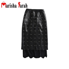Women Pencil Faux Leather Skirt Office Work Wear Business Mid-Calf High Waist Fitted Bodycon Elegant Sexy Rives Lace Edge Skirts