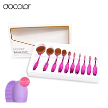 oval makeup brush 10pcs professional oval brush set Multipurpose makeup brushes set super nice toothbrush makeup brush with box(China (Mainland))