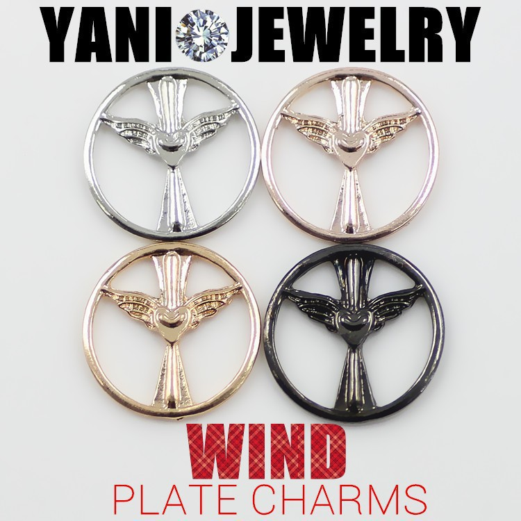 20pcs/lot Free Shipping 2014 New Fashion 4 Colors Alloy DIY Flying Heart Plate Charm For 30mm Folating Living Glass Locket(China (Mainland))