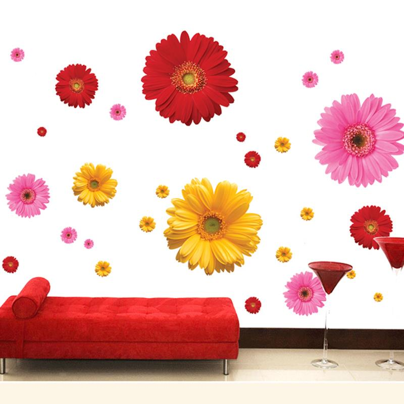 Colorful flower floral wall stickers living room bedroom for Colorful kitchen wall art