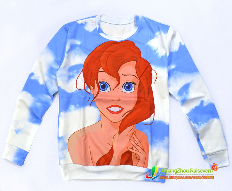 2015 New Fashion women/men Mermaid Arie princess print Pullovers cute 3d Hoodies sweats cartoon Galaxy sweatshirts top
