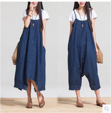 Fashion Women'S Thin Section Sleeveless Summer Long Denim Strap Dresses Casual A-Line Mid-Waist Blue Pullover Dress S/M/L J75