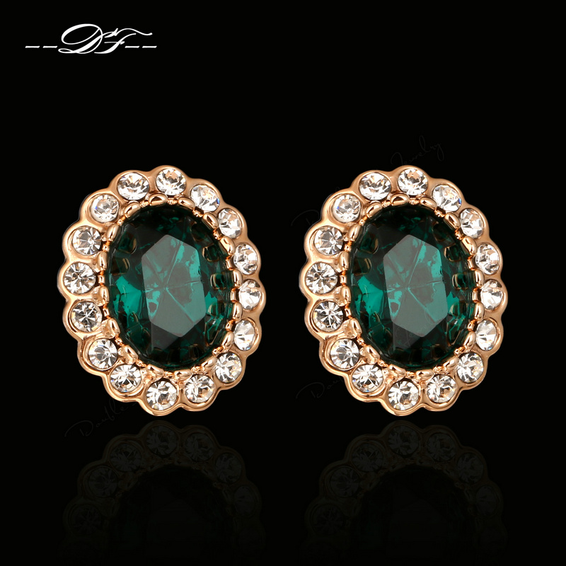 Emerald Rhinestone Stud Earrings 18K Rose Gold Plated Fashion Brand Imitation Gemstone Crystal Vintage Jewelry For Women DFE107M(China (Mainland))