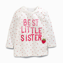 Wholesale Brand Girls T shirts Autumn 2016 New Cotton Kids T shirt Shirts Long Sleeve Letter Shirts for Children Kids Clothing