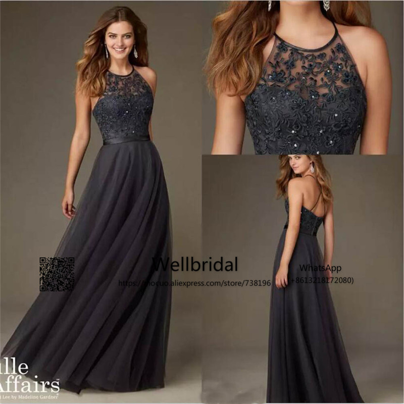 2016-new-arrival-cheap-bridesmaid-dresses-halter-neck-criss-cross-back-lace-appliques-bodice-beaded-tulle-a-line-formal-maid-of-the-honer 3