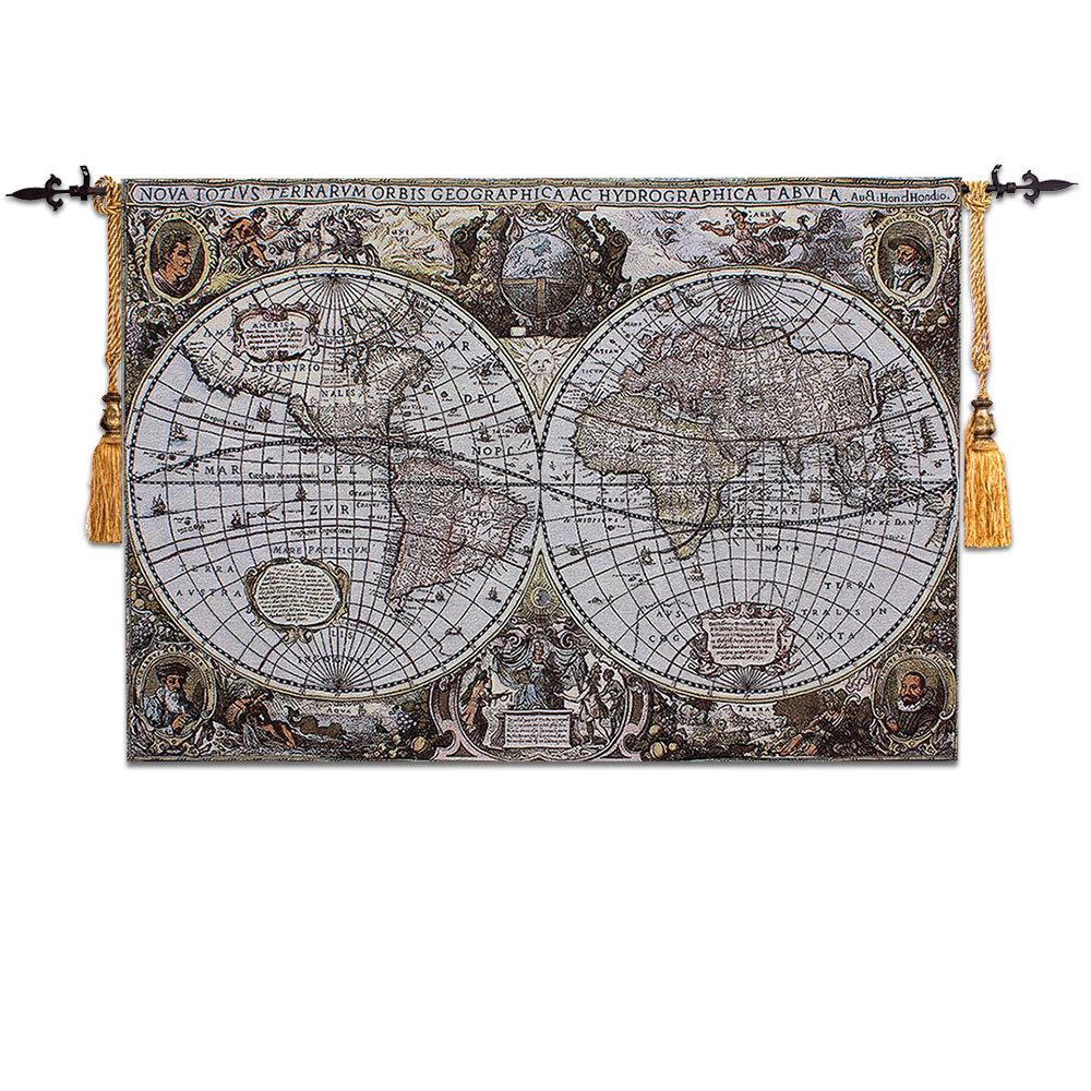 Old World Vintage Map Medieval Art Decor Tapestry Large