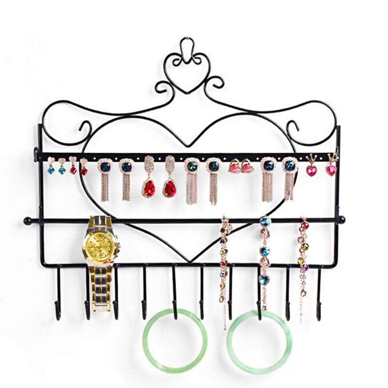2016 Wall Mount Heart Shape Jewelry Organizer Hanging Earring Holder Necklace Jewelry Display Stand Rack 15 x 1.5 x 13 inches(China (Mainland))