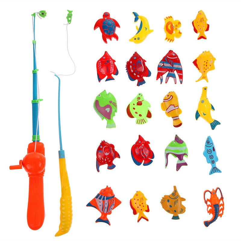 Hot Sale 20pcs Fishes And 1pcs Fishing Rod Kids Magnet Fishing Toys for Kid Children Eearly Educational Toy Free Shipping