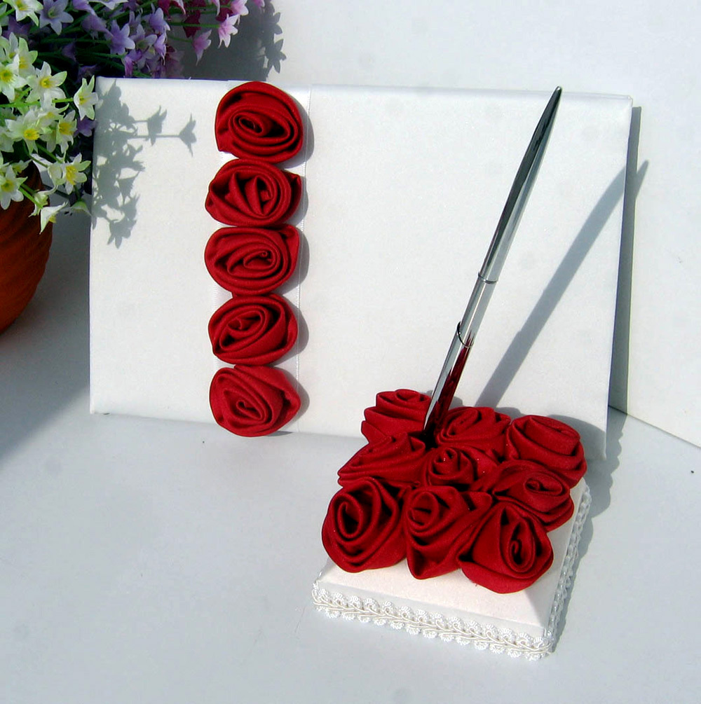2Pcs set Red pink Rose Decor Wedding Satin Guest Book Pen Set for Bridal Decoration Product