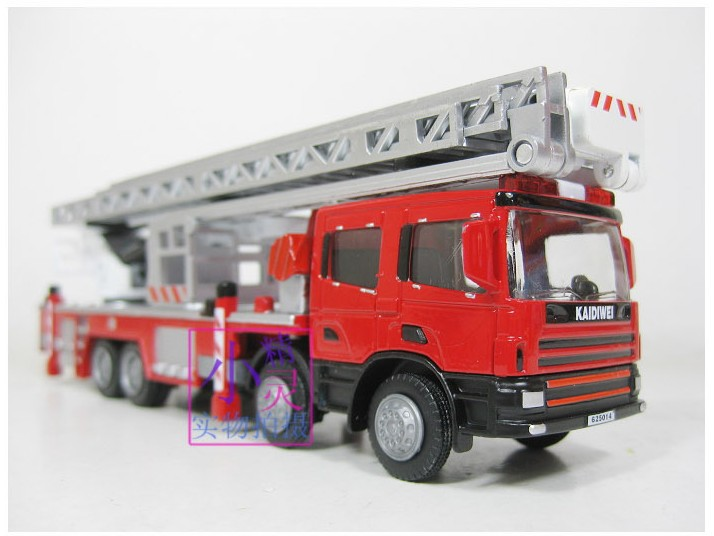 New sale 1pc 1:50 16.5cm Cadeve engineering scaling ladder fire engine truck model alloy car home decoration children gift toy(China (Mainland))
