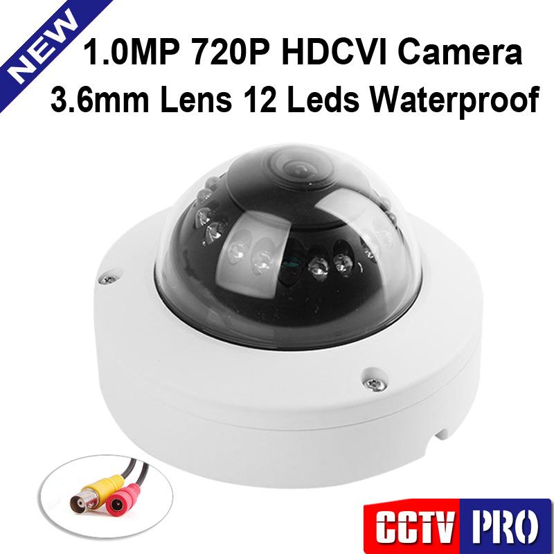 HDCVI 720P 1280x720 IR 3.6mm Lens 12Pcs Leds 10m Night Vision Vandal CCTV HD CVI Dome Camera Color White(China (Mainland))