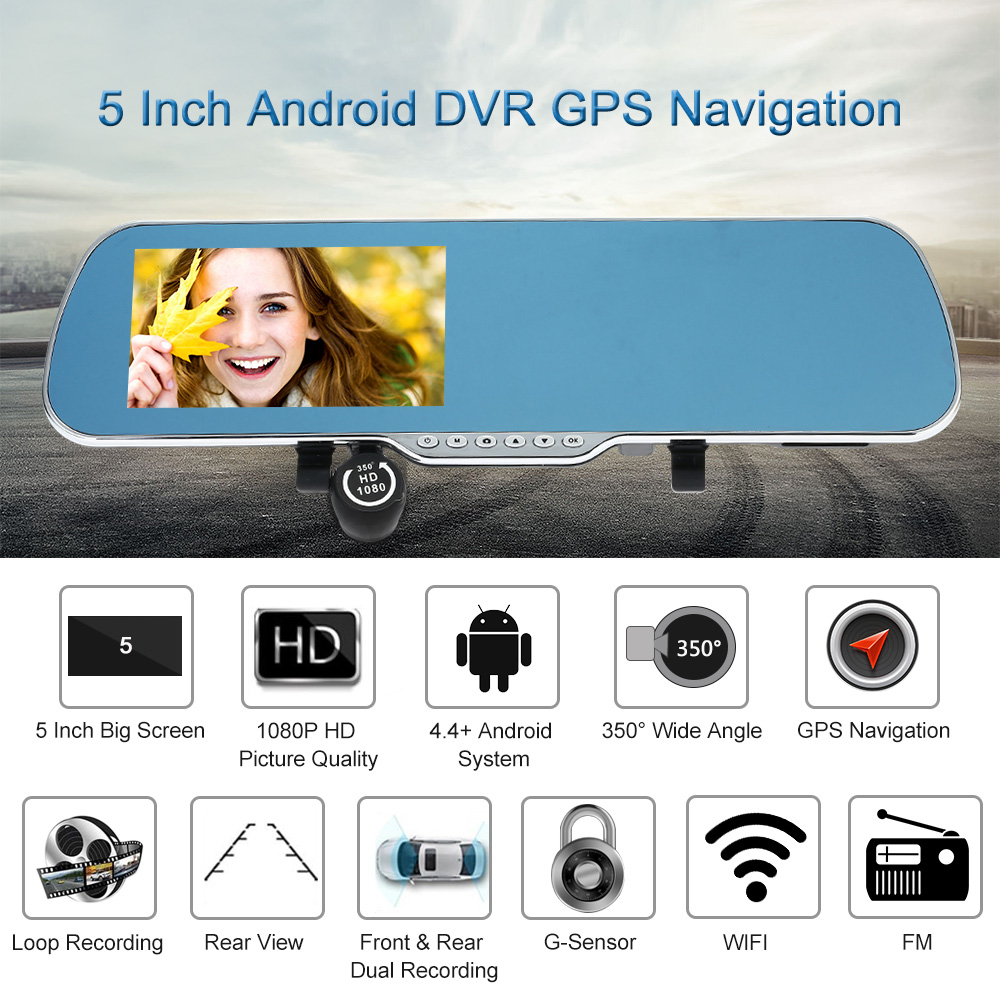 """KKMOON 5"""" Android Smart System GPS Navigation Car Rearview Mirror DVR Dual Lens Front Rear 1080P Camera Recorder Night Vision(China (Mainland))"""