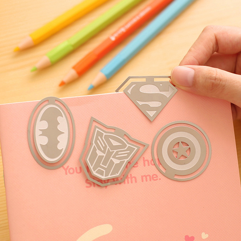 Free shipping novelty American Super Heroes personalized Metal Bookmark book Promotional Gift Stationery(China (Mainland))